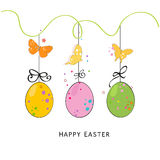 Happy easter silhouette eggs, bunny, chick greeting card vector Stock Photography
