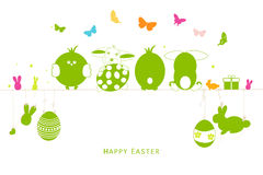 Happy easter silhouette eggs, bunny, chick greeting card vector Royalty Free Stock Photo