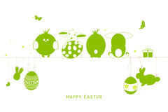 Happy easter silhouette eggs, bunny, chick greeting card vector. Background Stock Photography