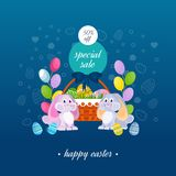 Happy easter. Special sale, greeting card. Two lovely festive rabbits. Happy easter. Special sale banner, greeting card. Two lovely festive rabbits, near the Royalty Free Stock Photo