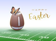 Happy Easter sports greeting card. American Football stock illustration