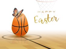 Happy Easter. Sports greeting card. Basketball stock illustration