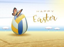 Happy Easter. Sports greeting card. Beach Volleyball stock illustration