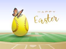 Happy Easter sports greeting card. Softball royalty free illustration