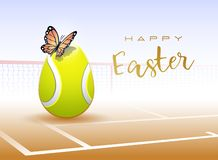 Happy Easter sports greeting card. Tennis vector illustration