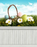 Happy Easter Spring background/backdrop. Festive happy Easter Spring background/backdrop Stock Photos