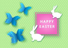 Happy easter spring background with  papercut  butterfly and  bu. Happy easter background with  papercut  blue  butterfly and  bunny. Spring. Vector flat design Royalty Free Stock Images