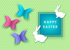 Happy easter spring  background with  papercut colorful  butterf. Happy easter background with  papercut colorful  butterfly and  bunny. Spring. Vector flat Stock Photos