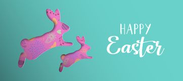 Happy Easter spring banner with paper art rabbit. Happy Easter holiday illustration. Paper cut bunny silhouette cutout with hand drawn eggs and spring flower Stock Image