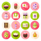 Happy Easter Spring Circle Icons Set with long Shadow Stock Images