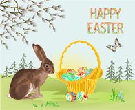 Happy Easter Spring Landscape Forest Easter Wicker And Easter Eggs And Hare And Butterfly In The Grass With Flowers Vintage Vect Royalty Free Stock Image