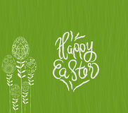 Happy easter with stalks tree eggs background Royalty Free Stock Image