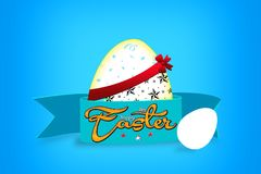Happy Easter with stars, blue background with colorful egg, confetti and ribbon.  Royalty Free Stock Image