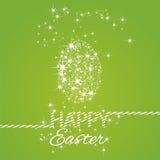 Happy Easter stars egg green background. Vector Stock Photo