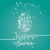 Happy Easter stars egg sea green background. Vector Stock Photography