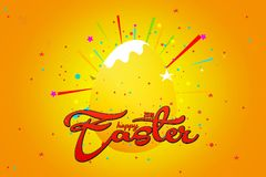 Happy Easter with stars, yellow background with colorful star.  Stock Photography