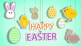 Happy Easter with Strings Attached Loop. Features Happy Easter text and Easter ornaments on strings swinging onto the screen and then back off again