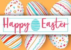 Happy Easter stripe with text on golden background. Easter colorful eggs in vertical line with elegant ornaments and label. Hand font  illustration. template Stock Photography