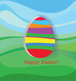 Happy Easter. Stylized egg on the landscape Royalty Free Stock Photos