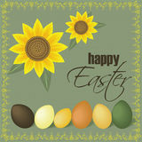 Happy easter sunflowers card. Easter eggs and sunflower card Stock Photo