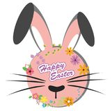 Happy Easter, sweet bunny with flowers design stock illustration