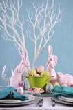 Happy Easter Table Setting. Stock Photo