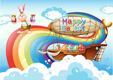 Happy Easter template with eggs and bunny Royalty Free Stock Image