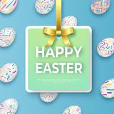Happy easter template with golden ribbon, bow and ornate eggs. Vector card with ornate eggs on blue background. Happy easter template with golden ribbon, bow and Stock Image