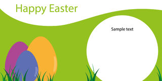 Happy Easter, template of greeting card with eggs Stock Photo