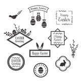 Happy Easter templates, icons, labels with birds, eggs and rabbits Stock Photo