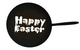 Happy Easter text in black frying pan Royalty Free Stock Photo