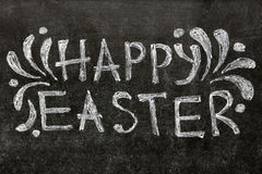 Happy Easter text on blackboard Royalty Free Stock Images