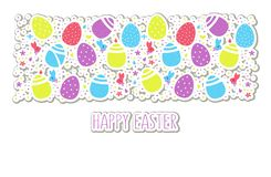 Happy Easter text on colorful eggs, flowers, festive confetti, hares and chickens background for poster, badge, banner, tag and royalty free illustration