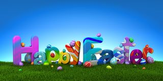 Happy Easter text with colorful eggs on green grass with blue sky royalty free stock images