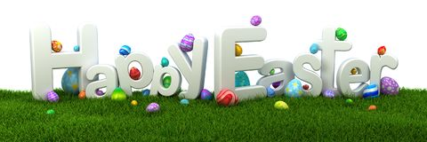 Happy Easter text with colorful eggs on green grass. 3d render Royalty Free Stock Image