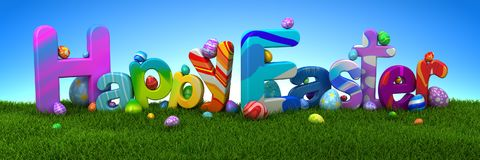 Happy Easter text with colorful eggs on green grass. With blue sky - 3d render Royalty Free Stock Images