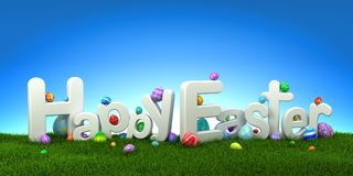 Happy Easter text with colorful eggs on green grass. With blue sky - 3d render Stock Photo