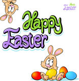 Happy easter text- design with bunny Stock Images