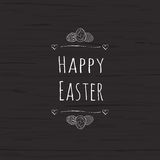 Happy Easter text and easter eggs for Pascha holiday greeting card template. Vector illustration. Stock Photography