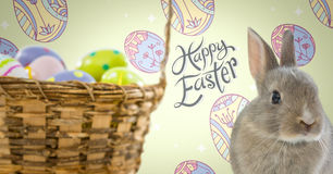 Happy Easter text with Easter Rabbit with eggs basket in front of pattern Royalty Free Stock Photography