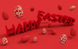 Happy easter text with eggs Royalty Free Stock Images