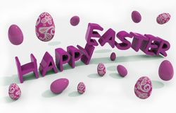 Happy easter text with eggs Stock Image