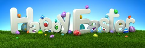 Happy Easter text with eggs on green grass with blue sky. Happy Easter text with colorful eggs on green grass with blue sky - 3d render Royalty Free Stock Photos