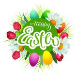 Happy easter text greeting card. Flowers and colored eggs. Vector template illustration Royalty Free Stock Photos