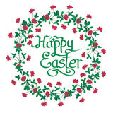 Happy Easter Text inside watercolor Flowers wreath on white back Stock Photo