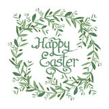 Happy Easter Text inside Watercolor olive wreath. Royalty Free Stock Photo