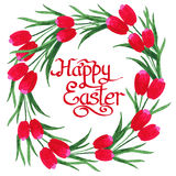 Happy Easter Text inside watercolor Tulips wreath on white backg Royalty Free Stock Image