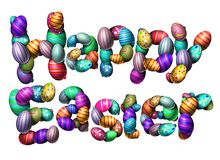 Happy Easter Text Isolated. On a white background as a spring celebration with decorated eggs as a 3D illustration Stock Images