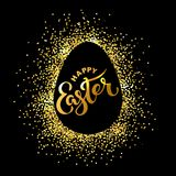 Happy Easter text isolated on textured background with golden confetti. Hand drawn lettering as Easter logo, badge, icon. Template for Happy Easter Day, party Stock Image