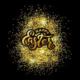 Happy Easter text isolated on textured background with golden confetti. Hand drawn lettering as Easter logo, badge, icon. Template for Happy Easter Day, party Royalty Free Stock Photo